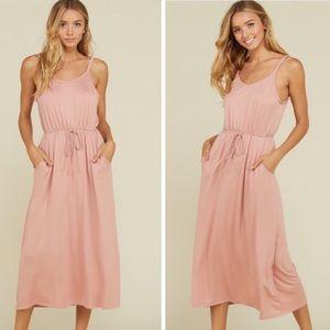 Blush Drawstring Sheath Dress